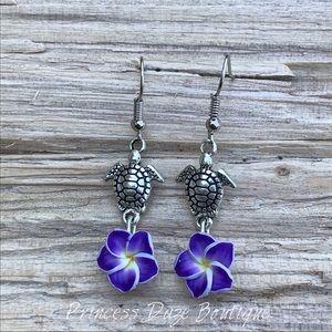 Purple Hawaiian Flower Turtle Dangle Earrings